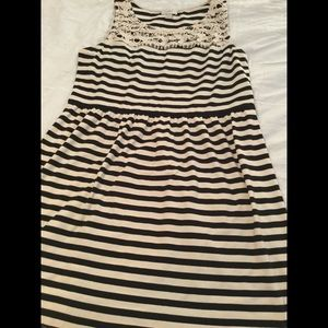 Ann Taylor Loft striped dress lace overlay large